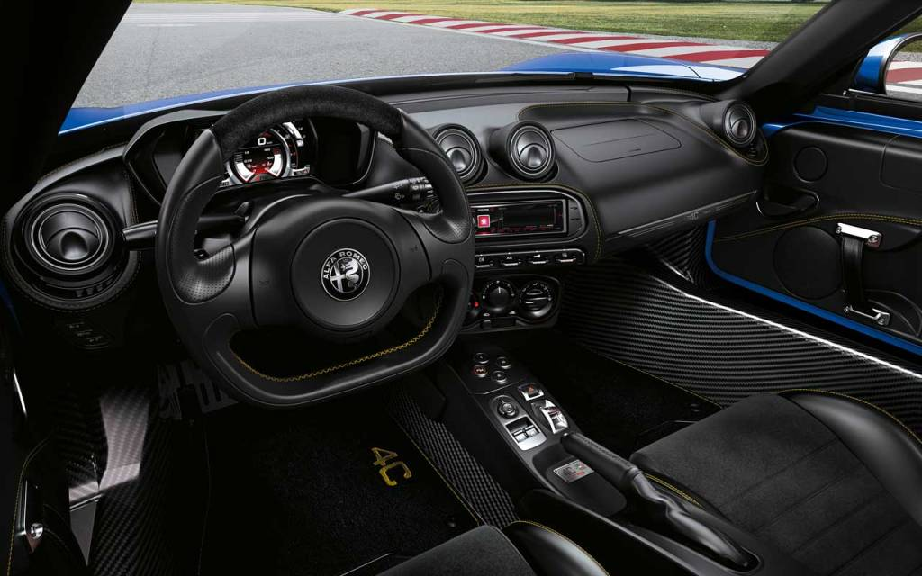 Interior of the 2020 Alfa Romeo 4C Spider Italia